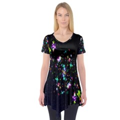 Star Structure Many Repetition Short Sleeve Tunic