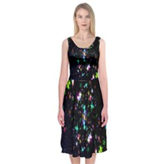 Star Structure Many Repetition Midi Sleeveless Dress