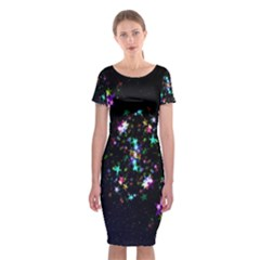 Star Structure Many Repetition Classic Short Sleeve Midi Dress