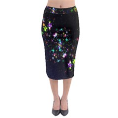 Star Structure Many Repetition Midi Pencil Skirt