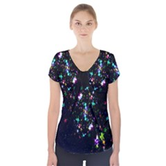 Star Structure Many Repetition Short Sleeve Front Detail Top