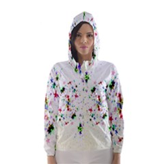 Star Structure Many Repetition Hooded Wind Breaker (women)