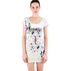 Star Structure Many Repetition Short Sleeve Bodycon Dress