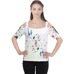 Star Structure Many Repetition Women s Cutout Shoulder Tee