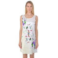 Star Structure Many Repetition Sleeveless Satin Nightdress