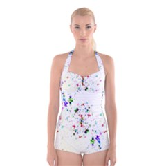 Star Structure Many Repetition Boyleg Halter Swimsuit