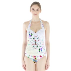 Star Structure Many Repetition Halter Swimsuit