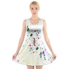 Star Structure Many Repetition V Neck Sleeveless Skater Dress