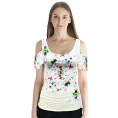 Star Structure Many Repetition Butterfly Sleeve Cutout Tee