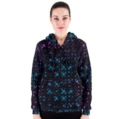 Stars Pattern Seamless Design Women s Zipper Hoodie
