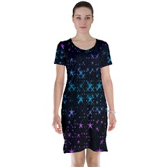 Stars Pattern Seamless Design Short Sleeve Nightdress