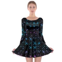 Stars Pattern Seamless Design Long Sleeve Skater Dress
