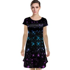 Stars Pattern Seamless Design Cap Sleeve Nightdress