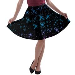 Stars Pattern Seamless Design A-line Skater Skirt