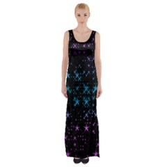 Stars Pattern Seamless Design Maxi Thigh Split Dress