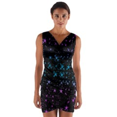 Stars Pattern Seamless Design Wrap Front Bodycon Dress
