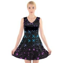 Stars Pattern Seamless Design V Neck Sleeveless Skater Dress