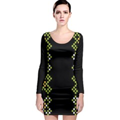 Vintage Pattern Background  Vector Seamless Long Sleeve Bodycon Dress