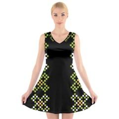 Vintage Pattern Background  Vector Seamless V Neck Sleeveless Skater Dress