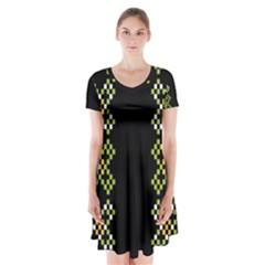 Vintage Pattern Background  Vector Seamless Short Sleeve V Neck Flare Dress