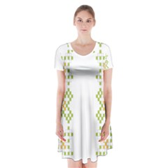 Vintage Pattern Background  Vector Seamless Short Sleeve V Neck Flare Dress