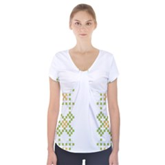 Vintage Pattern Background  Vector Seamless Short Sleeve Front Detail Top