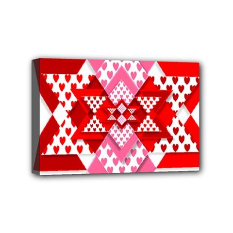 Valentine Heart Love Pattern Mini Canvas 6  X 4