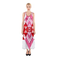 Valentine Heart Love Pattern Sleeveless Maxi Dress