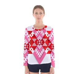 Valentine Heart Love Pattern Women s Long Sleeve Tee