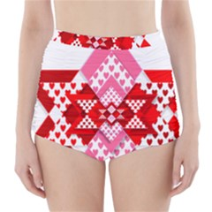 Valentine Heart Love Pattern High-Waisted Bikini Bottoms