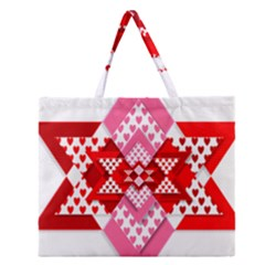 Valentine Heart Love Pattern Zipper Large Tote Bag
