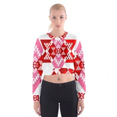 Valentine Heart Love Pattern Women s Cropped Sweatshirt