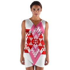 Valentine Heart Love Pattern Wrap Front Bodycon Dress