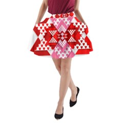 Valentine Heart Love Pattern A-Line Pocket Skirt