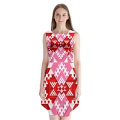 Valentine Heart Love Pattern Sleeveless Chiffon Dress