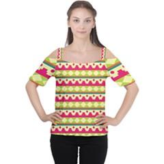 Tribal Pattern Background Women s Cutout Shoulder Tee