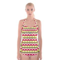 Tribal Pattern Background Boyleg Halter Swimsuit