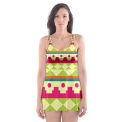 Tribal Pattern Background Skater Dress Swimsuit