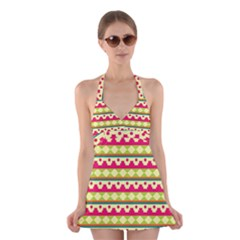 Tribal Pattern Background Halter Swimsuit Dress