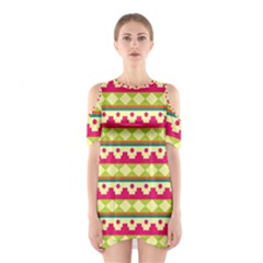 Tribal Pattern Background Shoulder Cutout One Piece