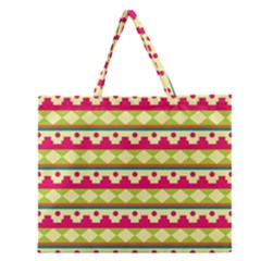 Tribal Pattern Background Zipper Large Tote Bag