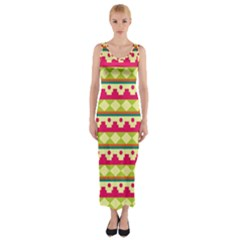 Tribal Pattern Background Fitted Maxi Dress
