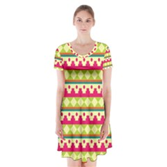 Tribal Pattern Background Short Sleeve V Neck Flare Dress