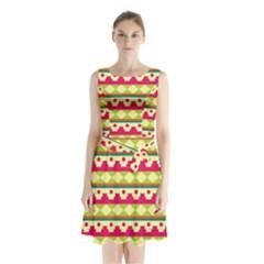 Tribal Pattern Background Sleeveless Chiffon Waist Tie Dress