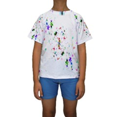Star Structure Many Repetition Kids  Short Sleeve Swimwear