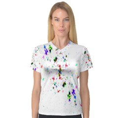 Star Structure Many Repetition Women s V Neck Sport Mesh Tee