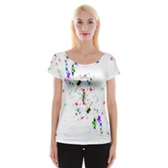 Star Structure Many Repetition Women s Cap Sleeve Top