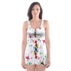Star Structure Many Repetition Skater Dress Swimsuit