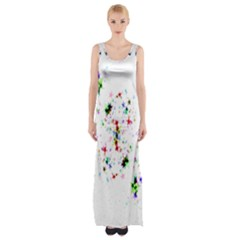 Star Structure Many Repetition Maxi Thigh Split Dress