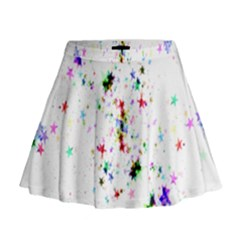 Star Structure Many Repetition Mini Flare Skirt